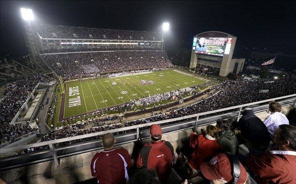 Nov 16, 2013; Starkville, MS, USA; General view of the Alabama Crimson Tide game against the Mississippi State Bulldogs during the third quarter at Davis Wade Stadium. Alabama defeated Mississippi State 20-7. Mandatory Credit: John David Mercer-USA TODAY Sports