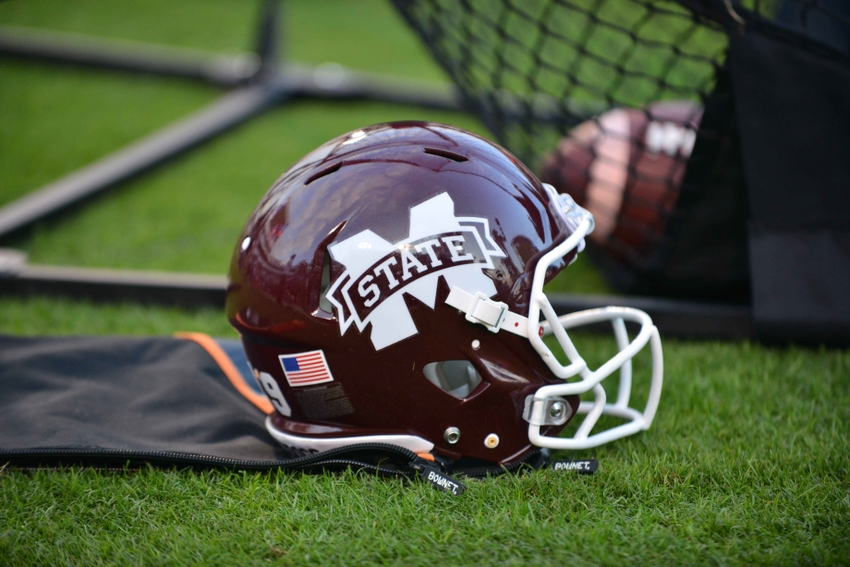 Oct 10, 2015; Starkville, MS, USA; A Mississippi State Bulldogs helmet sits on the sideline during the game against the Troy Trojans at Davis Wade Stadium. Mississippi State won 17 - 45. Mandatory Credit: Matt Bush-USA TODAY Sports