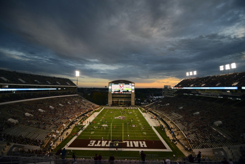 Nov 28, 2015; Starkville, MS, USA; The sun sets behind Davis Wade Stadium before the game against the Mississippi Rebels and Mississippi State Bulldogs. Mandatory Credit: Matt Bush-USA TODAY Sports