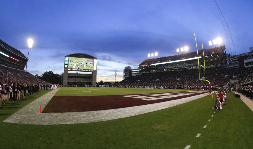 Nov 14, 2015; Starkville, MS, USA; A general view of Davis Wade Stadium during the Mississippi State Bulldogs vs Alabama Crimson Tide game. The Crimson Tide defeated the Bulldogs 31-6. Mandatory Credit: Marvin Gentry-USA TODAY Sports