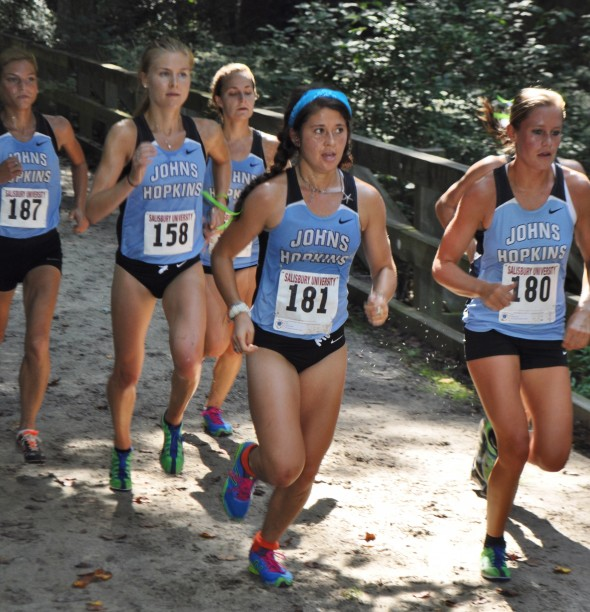 Hannah Oneda 181 leads JHU women's XC to Sea Gull Opener championship in Salisbury, MD - 8/31/13. Author's photo.