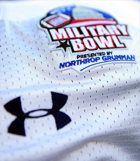 Dec 29, 2011; Washington, DC, USA; Detailed view of the 2011 Military Bowl logo on the jersey of a Toledo Rockets player prior to the game against the Air Force Falcons at RFK Stadium. Mandatory Credit: Andrew Weber-USA TODAY Sports