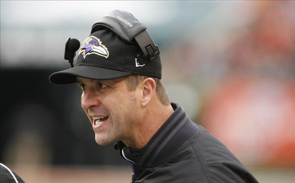 Dec 29, 2013; Cincinnati, OH, USA; Baltimore Ravens head coach John Harbaugh during the game against the Cincinnati Bengals in the first half at Paul Brown Stadium. Mandatory Credit: Mark Zerof-USA TODAY Sports