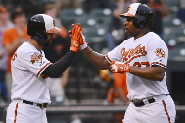 Jun 12, 2014; Baltimore, MD, USA; Baltimore Orioles designated hitter Delmon Young (27) celebrates with right fielder Nick Markakis (21) after hitting a two run home run in the first inning against the Toronto Blue Jays at Oriole Park at Camden Yards. Mandatory Credit: Tommy Gilligan-USA TODAY Sports