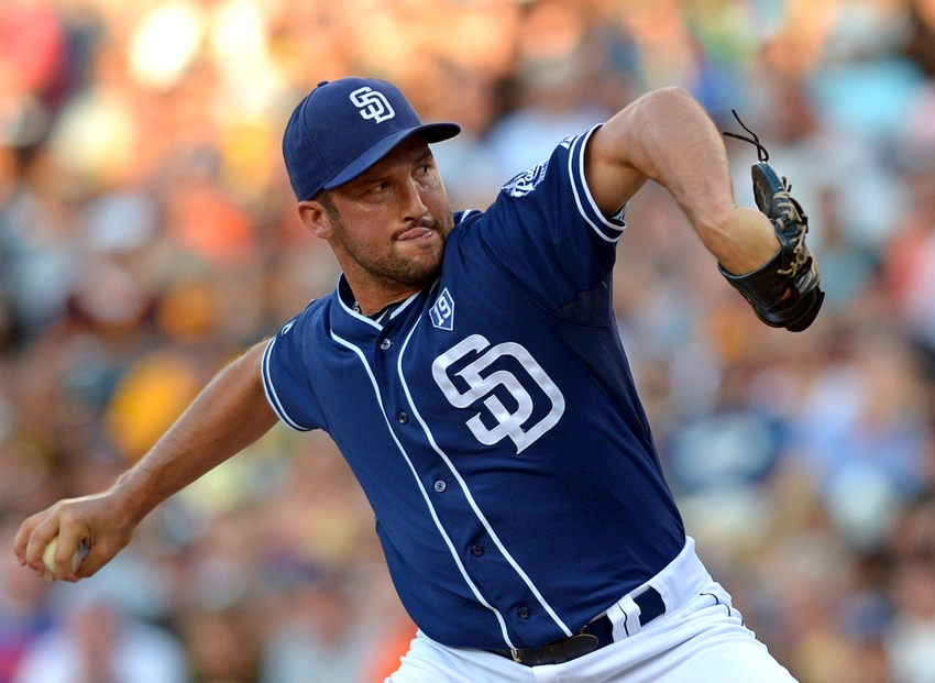 Jul 5, 2014; San Diego, CA, USA; San Diego Padres relief pitcher Huston Street (16) pitches during the ninth inning against the San Francisco Giants at Petco Park. Mandatory Credit: Jake Roth-USA TODAY Sports