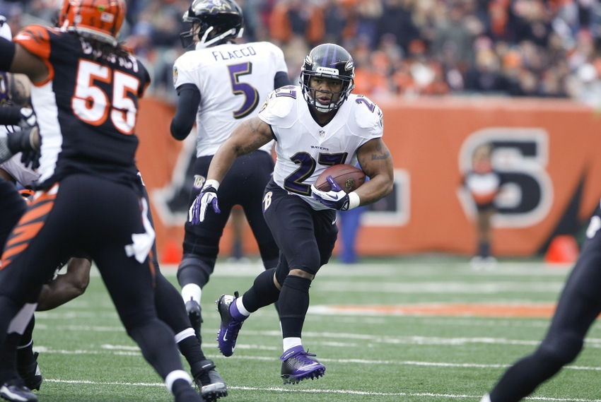 Dec 29, 2013; Cincinnati, OH, USA; Baltimore Ravens running back Ray Rice (27) runs the ball against the Cincinnati Bengals in the first half at Paul Brown Stadium. Mandatory Credit: Mark Zerof-USA TODAY Sports