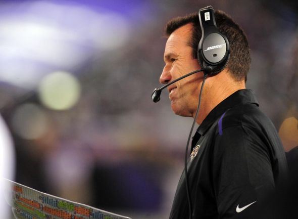 Aug 7, 2014; Baltimore, MD, USA; Baltimore Ravens offensive coordinator Gary Kubiak looks on during the game against the San Francisco 49ers at M&T Bank Stadium. Mandatory Credit: Evan Habeeb-USA TODAY Sports