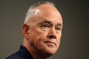 Aug 27, 2013; Flushing , NY, USA; New York Mets general manager Sandy Alderson speaks at a press conference before the game against the Philadelphia Phillies at Citi Field. Mandatory Credit: John Munson/THE STAR-LEDGER via USA TODAY Sports