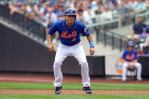 Aug 8, 2013; New York, NY, USA; New York Mets third baseman Wilmer Flores (4) leads off first after being walked during the second inning of a game against the Colorado Rockies at Citi Field. Mandatory Credit: Brad Penner-USA TODAY Sports