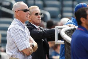 June 18, 2012; Flushing, NY, USA; New York Mets general manager Sandy Alderson (left) and owner Fred Wilpon before the game against the Baltimore Orioles at Citi Field. Mandatory Credit: Debby Wong-USA TODAY Sports
