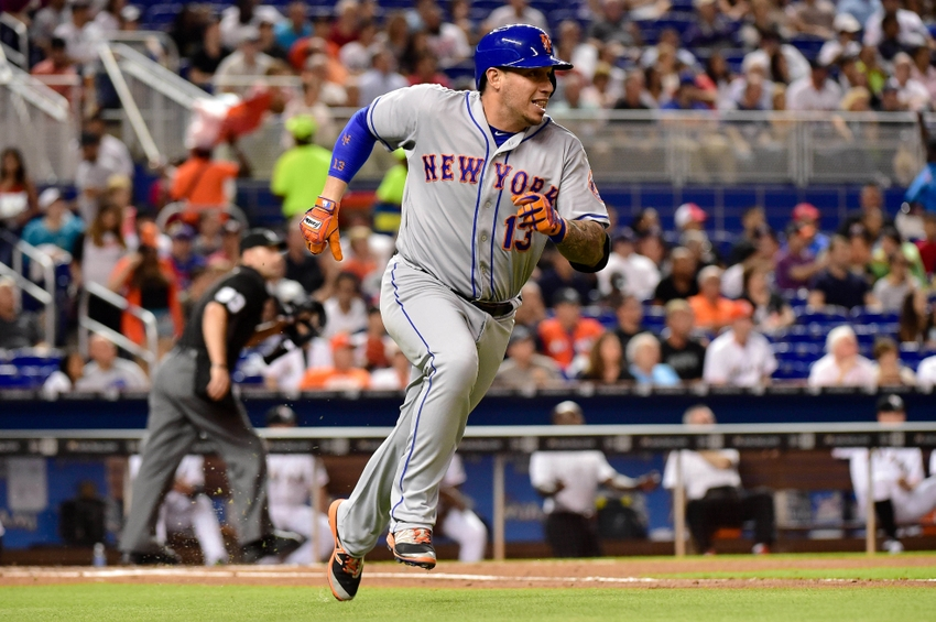 Jul 22, 2016; Miami, FL, USA; New York Mets shortstop Asdrubal Cabrera (13) runs after hitting a ground rule double during the second inning against the Miami Marlins at Marlins Park. Mandatory Credit: Steve Mitchell-USA TODAY Sports