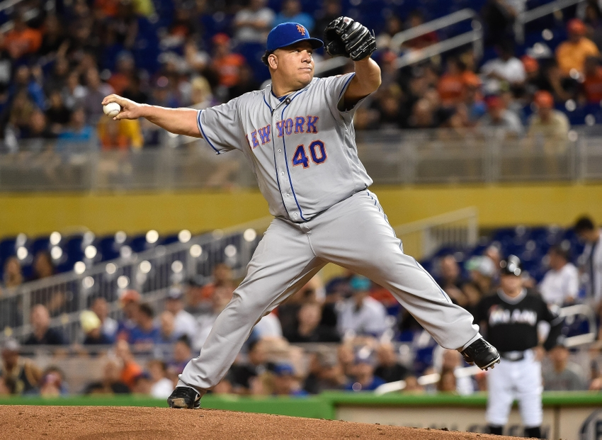 Sep 26, 2016; Miami, FL, USA; New York Mets starting pitcher Bartolo Colon (40) delivers a pitch during the first inning against the Miami Marlins at Marlins Park. Mandatory Credit: Steve Mitchell-USA TODAY Sports