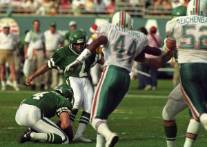 Raul Allegre tied the game with a field goal and won it in overtime, sending the Jets to the 1991 Wild Card game