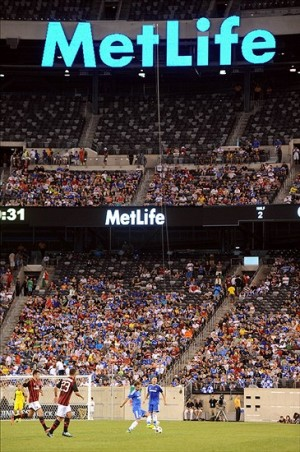 MetLife Central: The media cross roads for Super Bowl 48. Mandatory Credit: Joe Camporeale-USA TODAY Sports