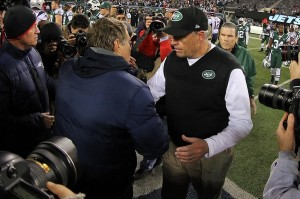 Nov 22, 2012; East Rutherford, NJ, USA; New England Patriots head coach Bill Belichick and New York Jets head coach Rex Ryan shake hands after the game on Thanksgiving at Metlife Stadium. Mandatory Credit: Ed Mulholland-USA TODAY Sports