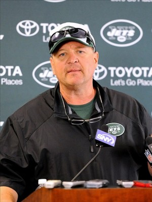 Jul 28, 2013; Cortland, NY, USA; New York Jets offensive coordinator Marty Mornhinweg speaks with the media prior to the start of training camp at SUNY Cortland. Mandatory Credit: Rich Barnes-USA TODAY Sports