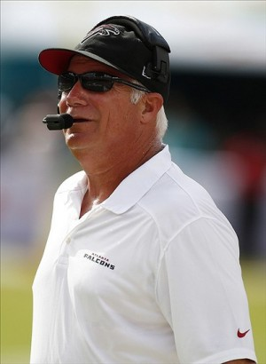 Sep 22, 2013; Miami Gardens, FL, USA; Atlanta Falcons head coach Mike Smith in the first quarter of a game against against the Miami Dolphins at Sun Life Stadium. Mandatory Credit: Robert Mayer-USA TODAY Sports