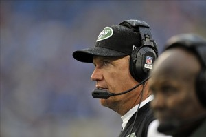 Sep 29, 2013; Nashville, TN, USA; New York Jets head coach Rex Ryan on the sideline against theTennessee Titans during the second half at LP Field. Tennessee won 38-13. Mandatory Credit: Jim Brown-USA TODAY Sports