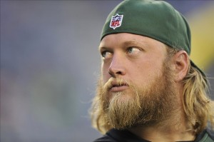 Aug 29, 2013; East Rutherford, NJ, USA; New York Jets center Nick Mangold looks on before a pre-season game against the Philadelphia Eagles at Metlife Stadium. Mandatory Credit: Joe Camporeale-USA TODAY Sports