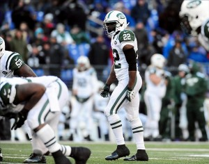 Nov 24, 2013; Baltimore, MD, USA; New York Jets safety Ed Reed (22) looks on during the game against the Baltimore Ravens at M