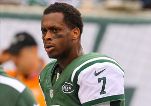 Dec 22, 2013; East Rutherford, NJ, USA; New York Jets quarterback Geno Smith (7) during warmups for their game against the Cleveland Browns at MetLife Stadium. Mandatory Credit: Ed Mulholland-USA TODAY Sports
