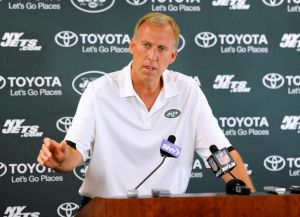 Jul 27, 2013; Cortland, NY, USA; New York Jets general manager John Idzik speaks with the media following training camp at SUNY Cortland. Mandatory Credit: Rich Barnes-USA TODAY Sports