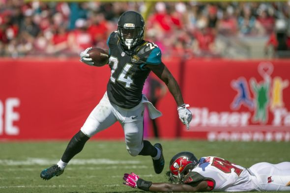 Oct 11, 2015; Tampa, FL, USA;Jacksonville Jaguars running back T.J. Yeldon (24) runs in the third quarter against Tampa Bay Buccaneers at Raymond James Stadium. The Tampa Bay Buccaneers won 38-31. Mandatory Credit: Logan Bowles-USA TODAY Sports