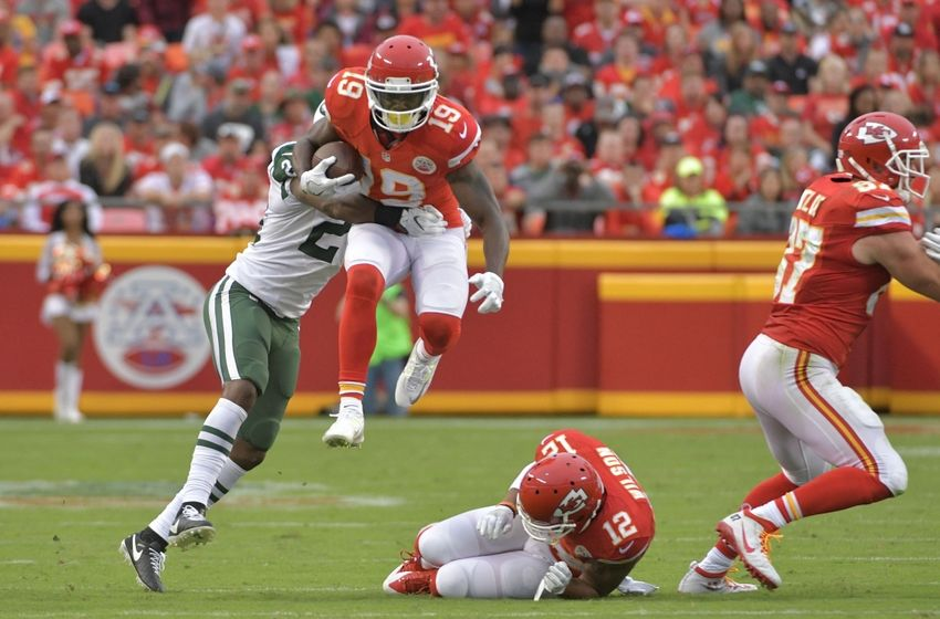 Sep 25, 2016; Kansas City, MO, USA; Kansas City Chiefs wide receiver Jeremy Maclin (19) leaps while running as New York Jets cornerback Darrelle Revis (24) attempts the tackle during the second half at Arrowhead Stadium. The Chiefs won 24-3. Mandatory Credit: Denny Medley-USA TODAY Sports