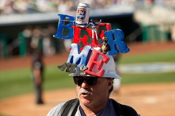 Mar 6, 2012; Mesa, AZ, USA; A vendor selling beer as the Chicago Cubs play against the Colorado Rockies at HoHoKam Park. Mandatory Credit: Allan Henry-USA TODAY Sports