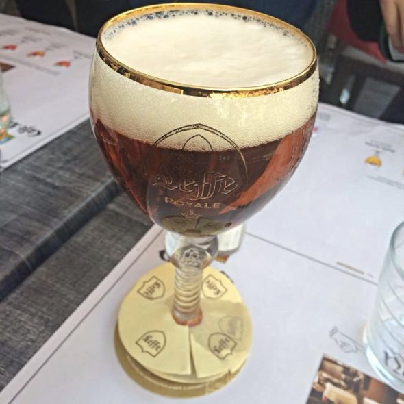 A perfectly poured Royale in a branded chalice