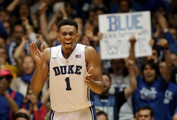 Dec 3, 2013; Durham, NC, USA; Duke Blue Devils forward Jabari Parker (1) reacts after scoring against the Michigan Wolverines at Cameron Indoor Stadium. Mandatory Credit: Mark Dolejs-USA TODAY Sports