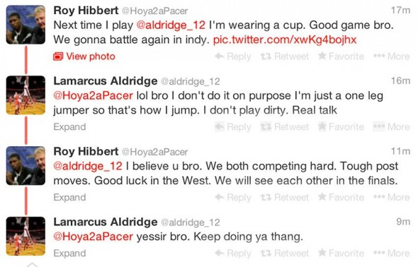 Roy Hibbert and LaMarcus Aldridge appear to know that their toughest threats are.....each other.