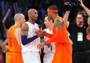 December 25, 2012; Los Angeles, CA, USA; Los Angeles Lakers shooting guard Kobe Bryant (24) greets New York Knicks small forward Carmelo Anthony (7) following the 100-94 victory at Staples Center. Mandatory Credit: Gary A. Vasquez-USA TODAY Sports