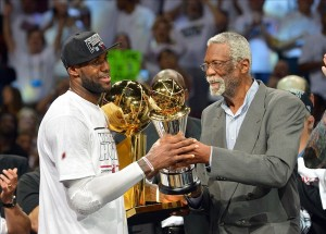 LeBron James and Bill Russell are two of the all time greats. Mandatory Credit: Steve Mitchell-USA TODAY Sports