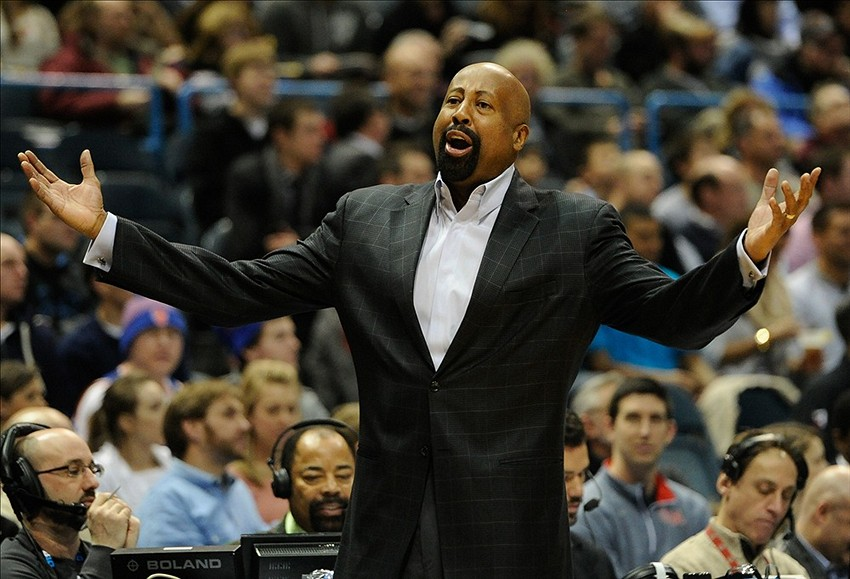 Feb 3, 2014; Milwaukee, WI, USA; New York Knicks head coach Mike Woodson reacts during game against the Milwaukee Bucks in the 2nd quarter at BMO Harris Bradley Center. Mandatory Credit: Benny Sieu-USA TODAY Sports