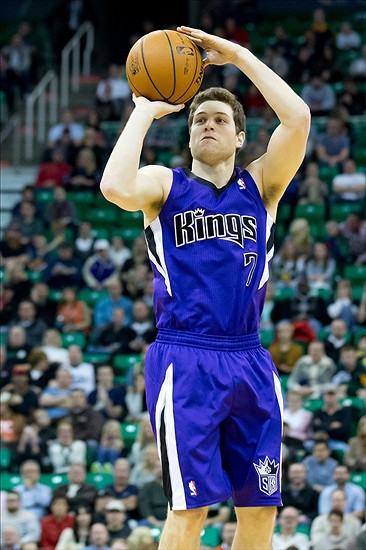 Jan 27, 2014; Salt Lake City, UT, USA; Sacramento Kings point guard Jimmer Fredette (7) shoots during the first half against the Utah Jazz at EnergySolutions Arena. Mandatory Credit: Russ Isabella-USA TODAY Sports