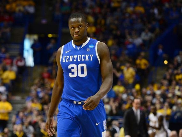 Mar 23, 2014; St. Louis, MO, USA; Kentucky Wildcats forward Julius Randle (30) reacts against the Wichita State Shockers during the first half in the third round of the 2014 NCAA Men