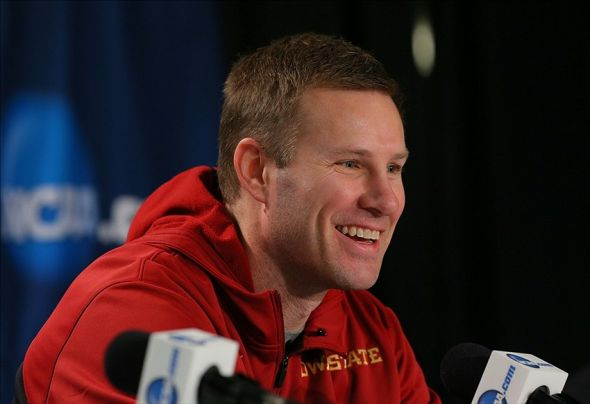 Mar 27, 2014; New York, NY, USA; Iowa State Cyclones head coach Fred Hoiberg speaks during a press conference during practice for the east regional of the 2014 NCAA Tournament at Madison Square Garden. Mandatory Credit: Adam Hunger-USA TODAY Sports