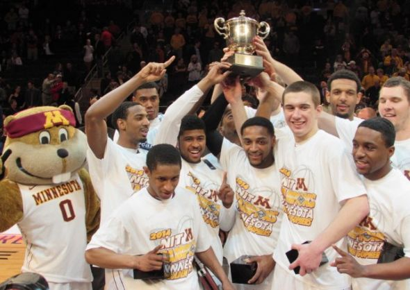 April 3, 2014: Minnesota celebrates its NIT championship win over SMU at Madison Square Garden (photo: Jonathan Wagner)