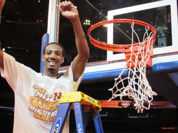2014 NIT MVP Austin Hollins, celebrates Minnesota's NIT title win over SMU (photo: Jonathan Wagner)