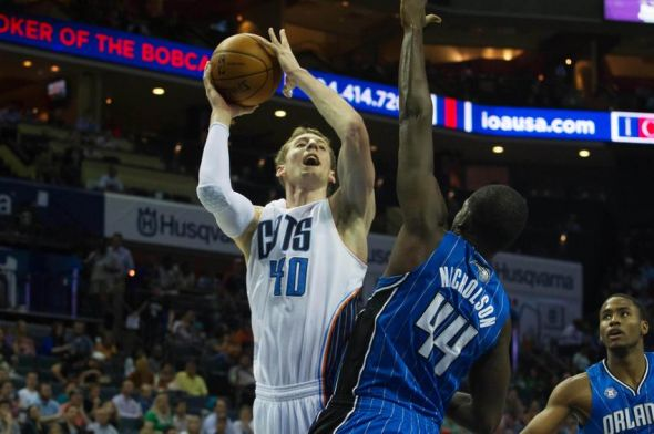 Apr 4, 2014; Charlotte, NC, USA; Charlotte Bobcats center Cody Zeller (40) shoots the ball over Orlando Magic forward Andrew Nicholson (44) during the second half at Time Warner Cable Arena. The Bobcats defeated the Magic 91-80. Mandatory Credit: Jeremy Brevard-USA TODAY Sports