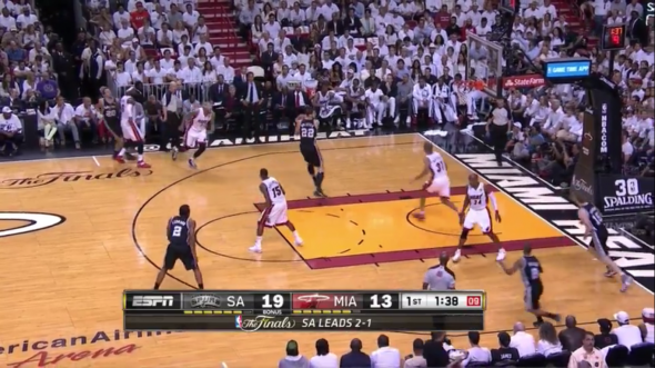 The Spurs exploiting Miami's aggressive style of pick and roll defense.
