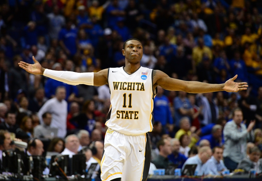 Mar 23, 2014; St. Louis, MO, USA; Wichita State Shockers forward Cleanthony Early (11) reacts after scoring against the Kentucky Wildcats during the second half in the third round of the 2014 NCAA Men
