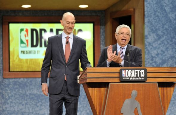 Jun 27, 2013; Brooklyn, NY, USA; NBA commissioner David Stern (right) introduces deputy commissioner Adam Silver after the first round of the 2013 NBA Draft at the Barclays Center. Mandatory Credit: Joe Camporeale-USA TODAY Sports