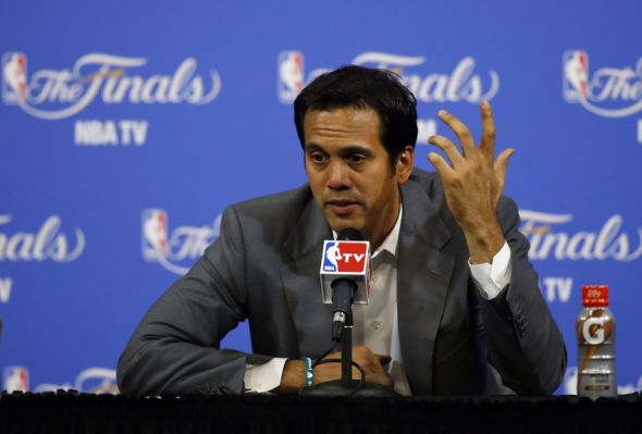 Jun 10, 2014; Miami, FL, USA; Miami Heat head coach Erik Spoelstra speaks to the media after game three of the 2014 NBA Finals against the San Antonio Spurs at American Airlines Arena. San Antonio Spurs won 111-92. Mandatory Credit: Robert Mayer-USA TODAY Sports
