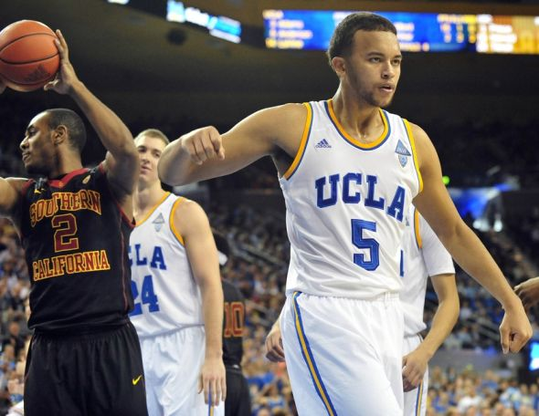 January 5, 2014; Los Angeles, CA, USA; UCLA Bruins guard/forward Kyle Anderson (5) reacts after drawing a foul from the Southern California Trojans during the second half at Pauley Pavilion. Mandatory Credit: Gary A. Vasquez-USA TODAY Sports