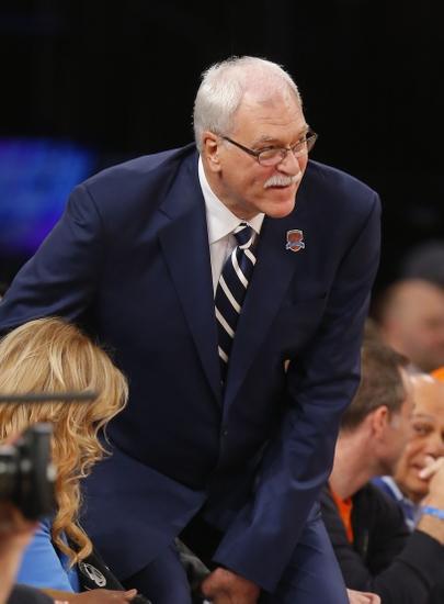 Apr 5, 2013; New York, NY, USA; Phil Jackson court side at game between the New York Knicks and the Milwaukee Bucks at Madison Square Garden. Mandatory Credit: Jim O'Connor-USA TODAY Sports