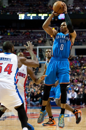 Nov 12, 2012; Auburn Hills, MI, USA; Oklahoma City Thunder point guard Russell Westbrook (0) takes a jump shot during the second quarter against the Detroit Pistons at The Palace. Mandatory Credit: Tim Fuller-USA TODAY Sports