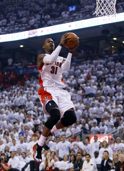 May 4, 2014; Toronto, Ontario, CAN; Toronto Raptors guard Terrence Ross (31) goes up to make a basket against the Brooklyn Nets in game seven of the first round of the 2014 NBA Playoffs at the Air Canada Centre. Brooklyn defeated Toronto 104-103. Mandatory Credit: John E. Sokolowski-USA TODAY Sports