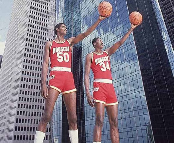 Ralph Sampson, left, and Hakeem Olajuwon towered over NBA frontcourts in the mid-1980s.